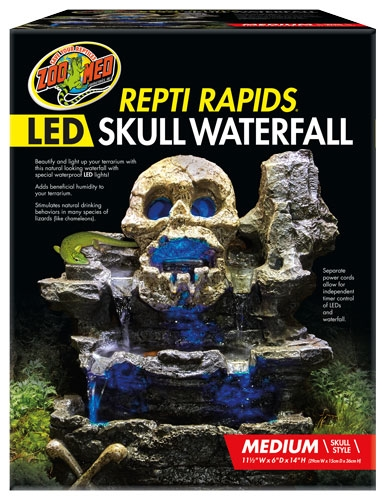 Zoomed Repti Rapids Led Skull Waterfall Med