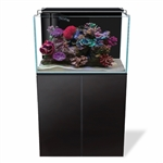 Aquatop Recife High Clarity Glass Reef Tank 48 Gallons w/ LED Light, Protein Skimmer, HTG-300W Heater & Max Flow Submersible Pump (740GPH), Pre-assembled Black Wood Cabinet Stand w/ Door & Glass Sump.