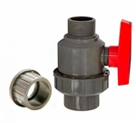 "Single Union Ball Valve 1.5"" - MPT x Socket/FPT, GRAY"
