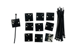 Cable Ties w/ Adhesive Back - BLACK 10PK