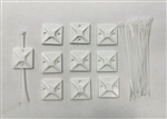 Cable Ties w/ Adhesive Back - WHITE 10PK